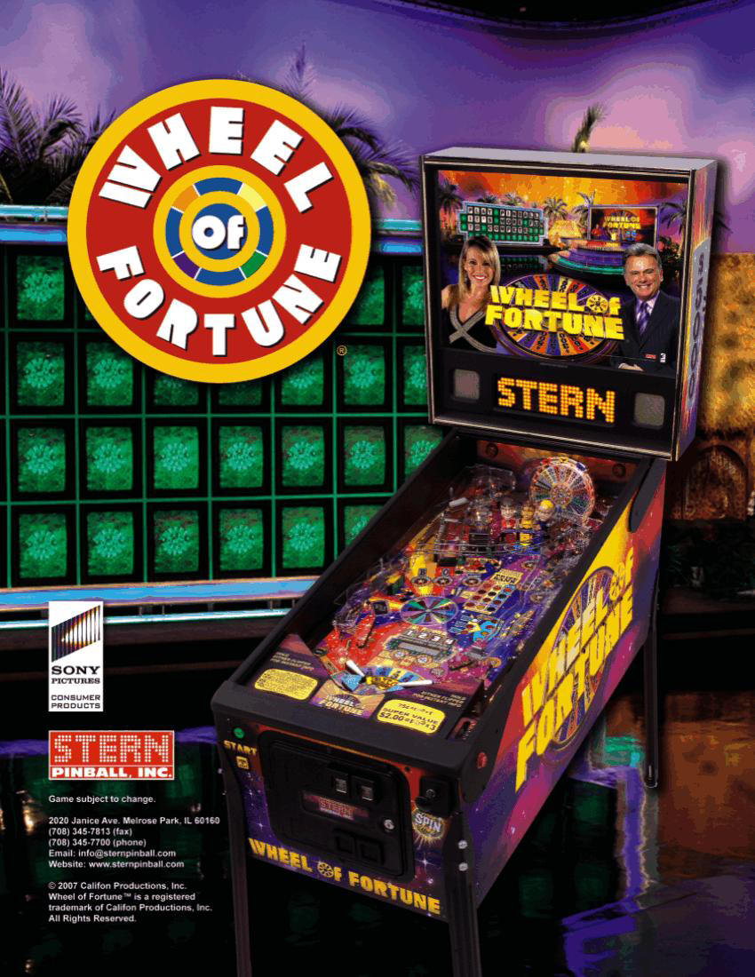 Wheel of Fortune Pinball brochure 1
