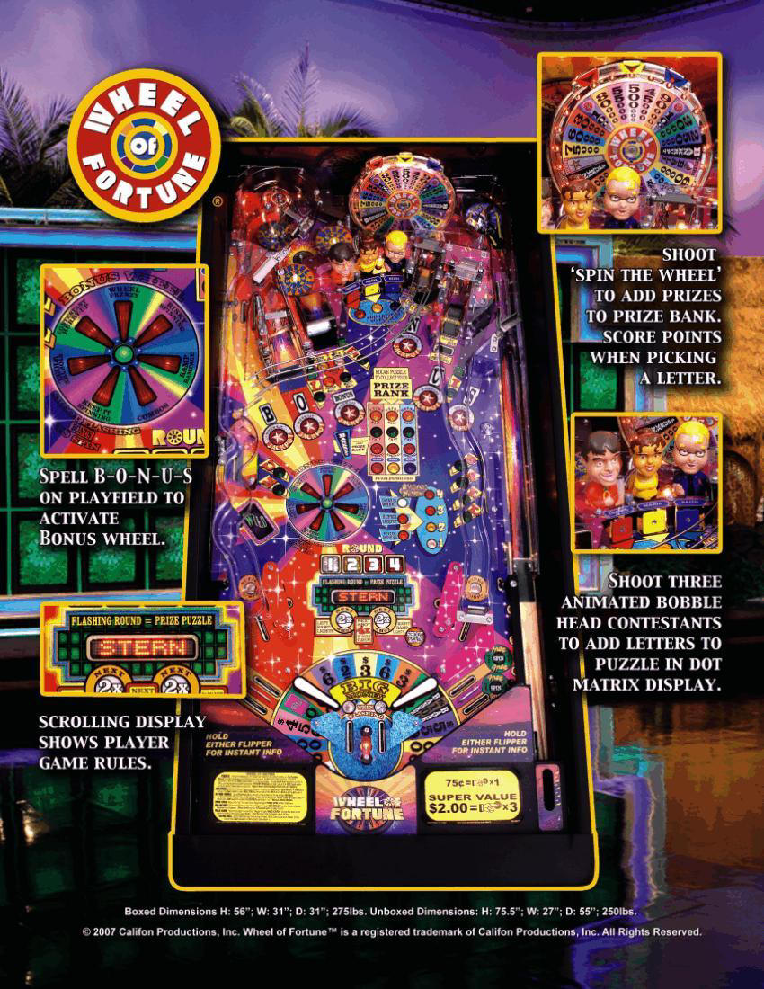 Wheel of Fortune Pinball brochure 2